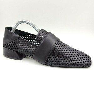 Mercedes Castillo Black Leather Square Toe Loafers